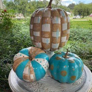 3 Hand Painted Designer Inspired pumpkins